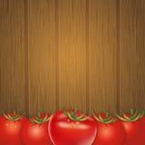 Wood bakgrund med tomater, vektorillustration Royaltyfri Fotografi