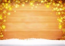 Wood bakgrund och snö för jul royaltyfri fotografi