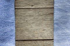 Wood bakgrund på jeanstextur Royaltyfri Bild