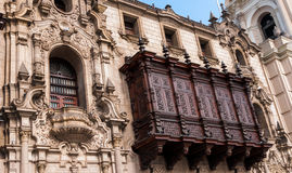 Wood balcon of archiepiscopal palace in Lima Peru Royalty Free Stock Images