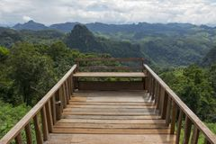 Wood balcony with mountain view Royalty Free Stock Photography