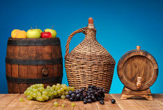 Wood balloon wine and fruits Royalty Free Stock Image