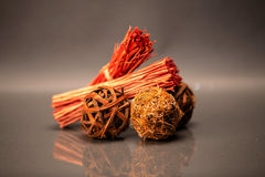 Wood balls. A couple of wood - balls, made with rope strings and some woden sticks Stock Photos