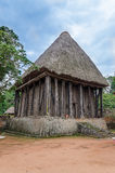 Wood and bamboo temple called Achum at traditional Fon`s palace in Bafut, Cameroon, Africa Royalty Free Stock Photos