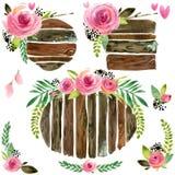 Wood baner med rosblomman Steg blommavattenfärgen Gifta sig den dekorativa beståndsdelen Wood paneluppsättning royaltyfri illustrationer