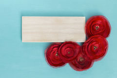 Wood banner on blue background Royalty Free Stock Photo