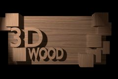 Wood banner with 3D cubes and text. Stock Photo