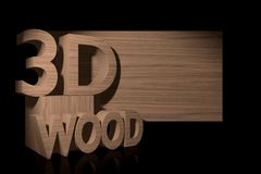 Wood banner with 3D text. Stock Photo