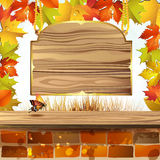 Wood banner with leaves Stock Photography