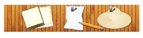 Wood banner with notepad and pencil Royalty Free Stock Images