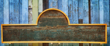 Wood banner on old wooden wall Stock Photos