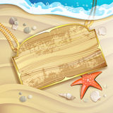 Wood banner over sand beach Royalty Free Stock Photos