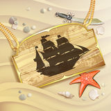 Wood banner with pirate ship Royalty Free Stock Photography