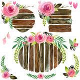 Wood Banners with rose flower. Rose flower watercolor. Wedding decorative element. Wood panel set. Royalty Free Stock Photos