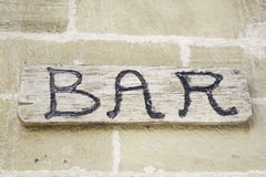 Wood bar sign Stock Image