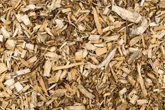Wood Bark Chip Mulch. Full Background View stock photo