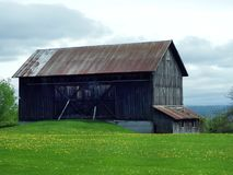 Wood barn in springtime along Cayuga Lake. Vintage wood agriculture barn sits atop a hill overlooking Cayuga Lake in the Finger Lakes region of NYS. Dandelion Stock Photography