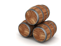 Wood barrel. Image of the old oak barrels on a white background Stock Image