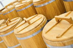 Wood barrel roll for cereal Royalty Free Stock Photos