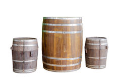 Wood barrel with steel ring Stock Image