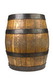 Wood barrel with steel rings on white Stock Images