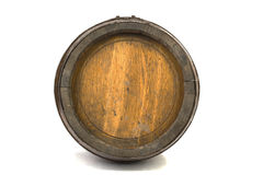 Wood barrel with steel rings on white Stock Photography