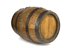 Wood barrel with steel rings on white Royalty Free Stock Image