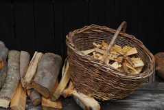 Wood in the basket Stock Images