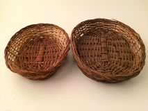 Wood basket. For chapatis Stock Images