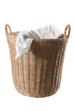Wood basket with clothes Stock Photos