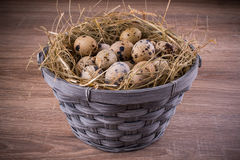 Wood basket filled with eggs of quails on wooden background Royalty Free Stock Photo