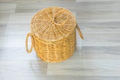 Wood basket. Hand made yellow wood basket Stock Photo