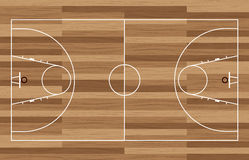 Wood basketball court. Basketball court outline with wooden floor of gymnasium Stock Photography