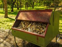 Wood for BBQ. In Jells park, Wheelers hill, Victoria, Australia Stock Images