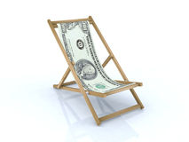 Wood beach chair with 100 dollars. 3d illustration Royalty Free Stock Photos