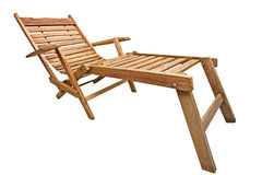 Wood beach chair Stock Images