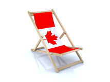 Wood beach chair with canadian flag. 3d illustration Royalty Free Stock Images