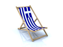Wood beach chair with Greek flag. 3d illustration Royalty Free Stock Photo