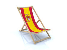 Wood beach chair with spanish flag. 3d illustration Royalty Free Stock Photo