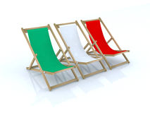 Wood beach chairs italian flag Royalty Free Stock Photography