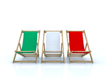 Wood beach chairs italian flag Stock Image