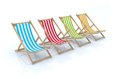 Wood beach chairs various colors Stock Photography