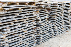 Wood beam stack for construction job Stock Images