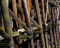 Wood beamed railroad bridge structure Royalty Free Stock Photo