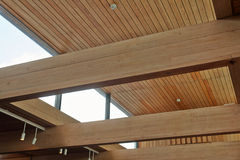 Wood Beams Inside A Building Royalty Free Stock Image