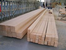 Wood beams long. In the factory royalty free stock images