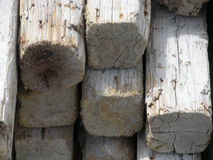 Wood Beams. Pile of worn, wooden beams in the sun Royalty Free Stock Photos