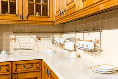 Wood beautiful custom kitchen interior design Royalty Free Stock Photo