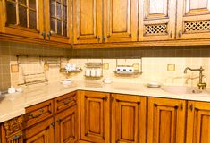 Wood beautiful custom kitchen interior design Royalty Free Stock Image