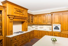 Wood beautiful custom kitchen interior design Royalty Free Stock Photos